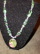 18 inch Ruby Zoisite and Tanzanite necklace