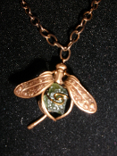 Wire wrapped Moldavite  Dragonfly Necklace